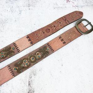 Fossil Boho Beaded Embellished Tooled Leather Belt